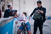 Hayley Simmonds (GBR) post-finish<br /> <br /> WOMEN ELITE INDIVIDUAL TIME TRIAL<br /> Hall-Wattens to Innsbruck: 27.8 km<br /> <br /> UCI 2018 Road World Championships<br /> Innsbruck - Tirol / Austria