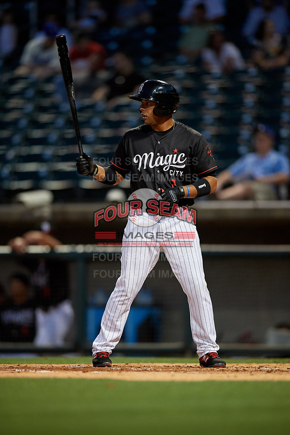 Birmingham Barons Ramon Torres (2) at bat during a Southern League game against the Chattanooga Lookouts on May 2, 2019 at Regions Field in Birmingham, Alabama.  Birmingham defeated Chattanooga 4-2.  (Mike Janes/Four Seam Images)