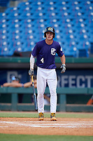 Reece Holbrook (4) of Hammond High School in Mount Pleasant, SC during the Perfect Game National Showcase at Hoover Metropolitan Stadium on June 20, 2020 in Hoover, Alabama. (Mike Janes/Four Seam Images)
