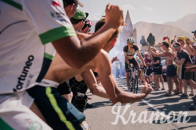 """Romain Bardet (FRA/AG2R-La Mondiale) coming through """"Dutch Corner"""" (#7) on Alpe d'Huez<br /> <br /> Stage 12: Bourg-Saint-Maurice / Les Arcs > Alpe d'Huez (175km)<br /> <br /> 105th Tour de France 2018<br /> ©kramon"""