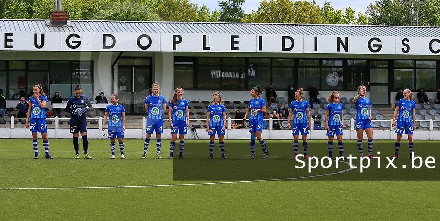 Silke Vanwynsberghe (21) of AA Gent, goalkeeper Nicky Evrard (1) of AA Gent, Rkia Mazrouai (2) of AA Gent, Heleen Jaques (4) of AA Gent, Fran Meersman (5) of AA Gent, Emma Van Britsom (6) of AA Gent, Jolet Lommen (9) of AA Gent, Chloe Vande Velde (10) of AA Gent , Jasmien Mathys (12) of AA Gent, Lobke Loonen (19) of AA Gent, Feli Delacauw (44) of AA Gent pictured at the line up before a female soccer game between Oud Heverlee Leuven and AA Gent Ladies on the 9 th matchday of play off 1 in the 2020 - 2021 season of Belgian Womens Super League , saturday 22 nd of May 2021  in Heverlee , Belgium . PHOTO SPORTPIX.BE   SPP   SEVIL OKTEM