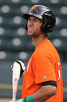 Second baseman Jose Cuevas (15) of the Augusta GreenJackets, a San Francisco Giants affiliate, prior to a game against the Greenville Drive on April 19, 2012, at Fluor Field at the West End in Greenville, South Carolina. (Tom Priddy/Four Seam Images)