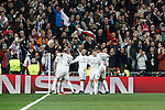 Real Madrid´s players celebrates Nacho´s goal during Champions League soccer match between Real Madrid  and Paris Saint Germain at Santiago Bernabeu stadium in Madrid, Spain. November 03, 2015. (ALTERPHOTOS/Victor Blanco)