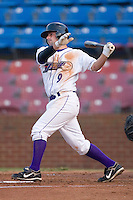 C.J. Lang #9 of the Winston-Salem Dash follows through on his swing versus the Frederick Keys at Wake Forest Baseball Stadium August 6, 2009 in Winston-Salem, North Carolina. (Photo by Brian Westerholt / Four Seam Images)