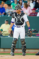 Winston-Salem Dash catcher Kevan Smith (24) on defense against the Carolina Mudcats at BB&T Ballpark on April 13, 2013 in Winston-Salem, North Carolina.  The Dash defeated the Mudcats 4-1.  (Brian Westerholt/Four Seam Images)