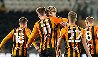 Hull City's James Scott celebrates scoring his side's third goal with teammates<br /> <br /> Photographer Alex Dodd/CameraSport<br /> <br /> EFL Papa John's Trophy - Northern Section - Group H - Hull City v Grimsby Town - Tuesday 17th November 2020 - KCOM Stadium - Kingston upon Hull<br />  <br /> World Copyright © 2020 CameraSport. All rights reserved. 43 Linden Ave. Countesthorpe. Leicester. England. LE8 5PG - Tel: +44 (0) 116 277 4147 - admin@camerasport.com - www.camerasport.com
