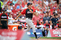 Boston Red Sox great Fred Lynn bats during the All-Star Legends and Celebrity Softball Game on July 12, 2015 at Great American Ball Park in Cincinnati, Ohio.  (Mike Janes/Four Seam Images)