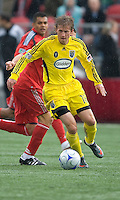 2 May 2009: Columbus Crew midfielder Brian Carroll #16 controls a ball at BMO Field in Toronto in a  game between the Columbus Crew and Toronto FC..The game ended in a 1-1 draw.