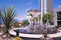 "Vancouver, BC, British Columbia, Canada - Water Fountain at ""Waterfront Centre"" overlooking ""Canada Place"" Trade and Convention Centre"