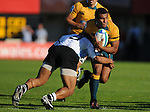 Fuji's Peni Rokodiva stops Will Genia in his tracks. Australia U20 V Fiji U20. IRB Junior Rugby World Cup 2008© Ian Cook IJC Photography iancook@ijcphotography.co.uk www.ijcphotography.co.uk.