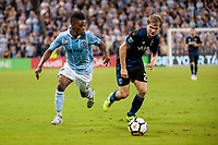 Kansas City, KS - Wednesday August 9, 2017: Latif Blessing, Florian Jungwirth during a Lamar Hunt U.S. Open Cup Semifinal match between Sporting Kansas City and the San Jose Earthquakes at Children's Mercy Park.