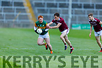 Kerry's Patrick Darcy been tackled by Mcdara Geraghty of Galway in the U20 All Ireland football semi final.