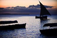 TANZANIA Zanzibar, Stone town, evening at sea, dhow sailing boat / TANSANIA Insel Sansibar, Stonetown, abends am Meer, Dhau Segler