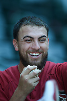 Arizona Diamondbacks pitcher Felipe Perez (33) jokes with teammates before an Instructional League game against the Oakland Athletics on October 10, 2014 at Chase Field in Phoenix, Arizona.  (Mike Janes/Four Seam Images)