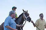 Javier Castellano, Onlyforyou and connections head to the winners circle after winning the Davona Dale(G2) at Gulfstream Park, Hallandale Beach Florida. 02-22-2014