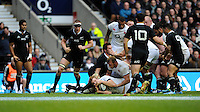 Joe Launchbury of England scores a try during the QBE Autumn International match between England and New Zealand at Twickenham on Saturday 16th November 2013 (Photo by Rob Munro)