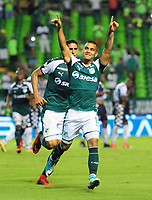 PALMIRA - COLOMBIA - 14 - 02 - 2018: Jown Cardona, jugador de Deportivo Cali celebra el gol anotado a Boyaca Chico F. C., durante partido de la fecha 3 por la liga Aguila I 2018, jugado en el estadio Deportivo Cali (Palmaseca) en la ciudad de Palmira. / Jown Cardona, player of Deportivo Cali celebrates a scored goal to Boyaca Chico F. C., during a match of the 3rd date for the Liga Aguila I 2018, at the Deportivo Cali (Palmaseca) stadium in Palmira city. Photo: VizzorImage  / Nelson Rios / Cont.