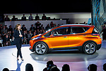 General Motors CEO Mary Barra addresses the media during the unveiling of the new Chevy Bolt, Monday, Jan. 12, 2015 during the NAIAS held at Cobo Center in Detroit.  (Jose Juarez for General Motors)