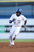 Dunedin Blue Jays outfielder David Harris (7) running the bases during a game against the Clearwater Threshers on April 10, 2015 at Florida Auto Exchange Stadium in Dunedin, Florida.  Clearwater defeated Dunedin 2-0.  (Mike Janes/Four Seam Images)