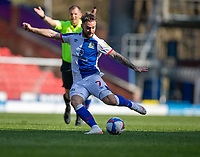 24th April 2021; Ewood Park, Blackburn, Lancashire, England; English Football League Championship Football, Blackburn Rovers versus Huddersfield Town;  Adam Armstrong of Blackburn Rovers shoots at goal