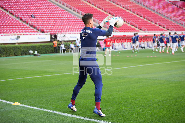 ZAPOPAN, MEXICO - MARCH 21: JT Marcinkowski #12 of the United States warming up before a game between Dominican Republic and USMNT U-23 at Estadio Akron on March 21, 2021 in Zapopan, Mexico.