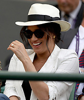 LONDON, ENGLAND - JULY 04: Meghan, Duchess of Sussex attends day four of the Wimbledon Tennis Championships at All England Lawn Tennis and Croquet Club on July 04, 2019 in London, England. <br /> <br /> <br /> People:  Meghan, Duchess of Sussex