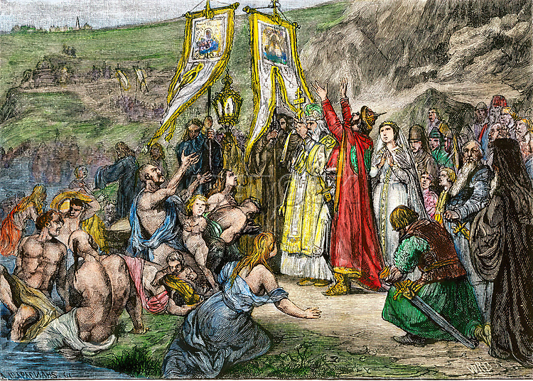 Vladimir I introducing Christianity into Russia, circa 1000 AD. Hand-colored woodcut