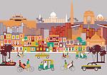City with montage of landmarks, New Delhi, India