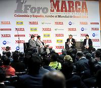 BOGOTA - COLOMBIA - 07 - 05 - 2013: Oscar Campillo (Izq.) director Diario Marca España, German Arango (2Izq.) director de contenido de Diario Marca Colombia, Angel Maria Villar (2Der.), Presidente de la Federacion  Española de Futbol y Luis Bedoya (Der.), Presidente de la Federacion  Colombiana de Futbol durante Foro en Bogota, mayo 7 de 2013.  El diario Marca Colombia, en su lanzamiento realizo el I FORO COLOMBIA Y ESPAÑA, RUMBO AL MUNDIAL BRASIL2014, (Foto. VizzorImage / Luis Ramirez / Staff). Oscar Campillo (L) chief Mark Journal Spain, German Arango (2L.) Director Brand Content of the Diario Marca Colombia, Angel Maria Villar (2Der.), President of the Spanish Football Federation and Luis Bedoya (R), President of Colombian Football Federation during forum in Bogota, May 7, 2013. The newspaper Marca Colombia, at launch I performed the FORUM COLOMBIA AND SPAIN, WAY TO WORLD BRASIL 2014, (Photo. VizzorImage / Luis Ramirez / Staff).