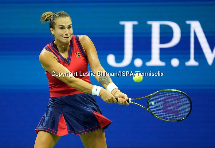 September  7, 2021:  Aryna Sabalenka (BLR) defeated Barbora Krejcikova (CZE) 6-1, 6-4, at the US Open being played at Billy Jean King Ntional Tennis Center in Flushing, Queens, New York / USA  ©Jo Becktold/Tennisclix/CSM/CSM