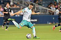 KANSAS CITY, KS - AUGUST 10: Ramiro Gonzalez #23 Club Leon with the ball during a game between Club Leon and Sporting Kansas City at Children's Mercy Park on August 10, 2021 in Kansas City, Kansas.