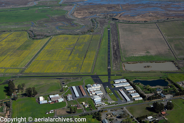 aerial photograph of Sonoma Valley Airport, also known as Shellville airport (0Q3), Sonoma County, CA in spring