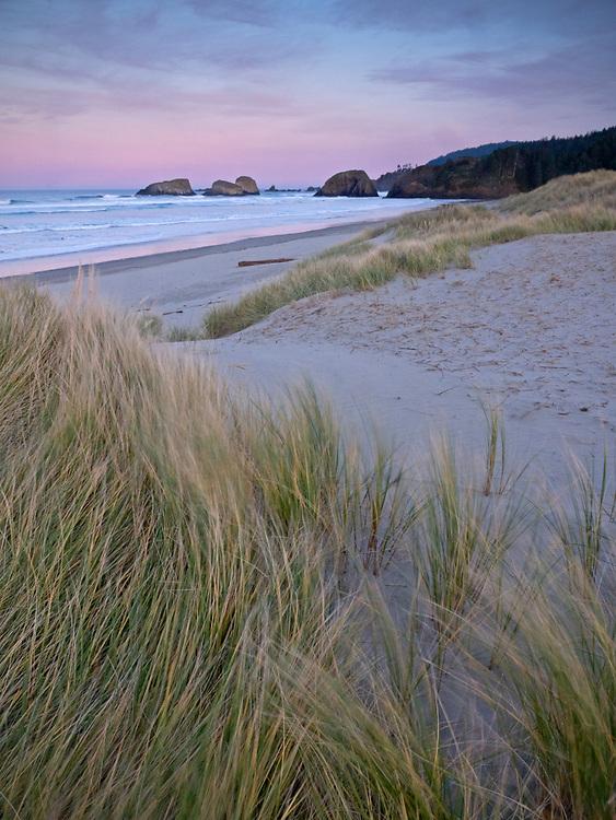 Sunrise along Cannon Beach along the northern Oregon coast, USA