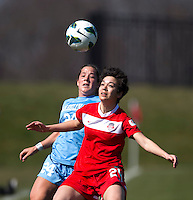 Diana Weigel, Paige Neilson. The Washington Spirit defeated the North Carolina Tar Heels in a preseason exhibition, 2-0, at the Maryland SoccerPlex in Boyds, MD.