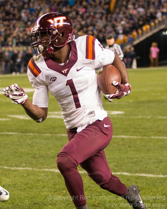 Virginia Tech wide receiver Isaiah Ford.The Virginia Tech Hokies defeated the Pitt Panthers 39-36 on October 27, 2016 at Heinz Field in Pittsburgh, Pennsylvania.