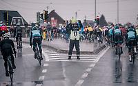 road marchal at work<br /> <br /> 73rd Dwars Door Vlaanderen 2018 (1.UWT)<br /> Roeselare - Waregem (BEL): 180km