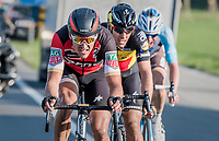 race leaders Greg Van Avermaet (BEL/BMC), Philippe Gilbert (BEL/Quick Step floors) & Oliver Naesen (BEL/AG2R-LaMondiale) forcing the pace towards the finish<br /> <br /> 60th E3 Harelbeke (1.UWT)<br /> 1day race: Harelbeke › Harelbeke - BEL (206km)