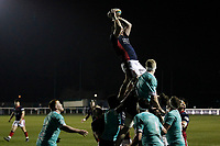 Alex Toolis of London Scottish claims the line out during the Greene King IPA Championship match between London Scottish Football Club and Nottingham Rugby at Richmond Athletic Ground, Richmond, United Kingdom on 7 February 2020. Photo by Carlton Myrie.