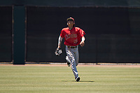 Los Angeles Angels outfielder Rayneldy Rosario (53) pursues a fly ball during an Extended Spring Training game against the Giants Black at the San Francisco Giants Training Complex on May 25, 2018 in Scottsdale, Arizona. (Zachary Lucy/Four Seam Images)
