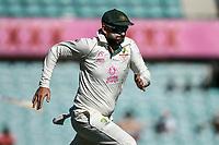 10th January 2021; Sydney Cricket Ground, Sydney, New South Wales, Australia; International Test Cricket, Third Test Day Four, Australia versus India; Nathan Lyon of Australia chases the ball