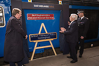 Pictured are Jake Kelly  MD of East Midlands Trains, with Councillor Brian Grocott, Chair of the Fire Authority and Paul Crowther, Chief Constable British Transport Police