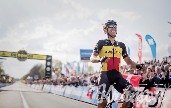 101th Ronde Van Vlaanderen 2017 (1.UWT) race winner Philippe Gilbert (BEL/Quick Step floors) crossing the finish line in Oudenaarde<br /> <br /> 1day race: Antwerp › Oudenaarde - BEL (260km)