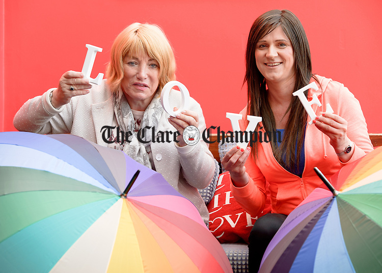 Kellie Maloney and Christina Riley who arrived at the Hydro hotel in Lisdoonvarna ahead of the Outing Festival. Photograph by John kelly.