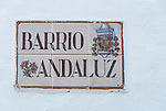 Street sign in Poble Espanyol complex in Barcelona, Spain.<br />