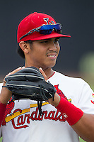 Chris Rivera (11) of the Johnson City Cardinals prior to the game against the Elizabethton Twins at Cardinal Park on July 27, 2014 in Johnson City, Tennessee.  The game was suspended in the top of the 5th inning with the Twins leading the Cardinals 7-6.  (Brian Westerholt/Four Seam Images)