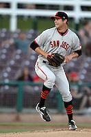 Jack Snodgrass #51 of the San Jose Giants pitches against the Inland Empire 66'ers at San Manuel Stadium on June 11, 2012 in San Bernardino,California.Inland Empire defeated San Jose 12-8.(Larry Goren/Four Seam Images)