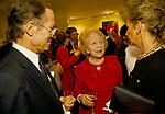 Betty Kenward (centre), British social gossip columnist of 'Jennifer's Diary', at party. London Uk 1990s