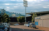 Ballparks: Portland, OR. Civic Stadium viewed from street in late afternoon. Aug. 1992.