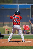Boston Red Sox Juan Hernandez (46) bats during a Minor League Spring Training game against the Tampa Bay Rays on March 25, 2019 at the Charlotte County Sports Complex in Port Charlotte, Florida.  (Mike Janes/Four Seam Images)