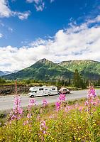 Motor home travel on the Seward highway, Kenai Peninsula, Alaska